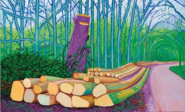 Felled Trees on Woldgate, 2008, de David Hockney.